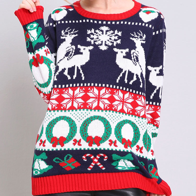 Deer Sweater Women Oversized Sweaters Woman Clothing 2018 Santa Pullover Plus Size Computer Knitted Casual Cartoon