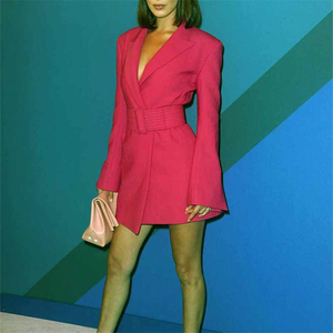 Image 5 - TWOTWINSTYLE FlareแขนยาวNotched Collar RoseสีชมพูBlazerชุดเข็มขัดผู้หญิงผู้หญิงชุดมินิ2020ฤดูใบไม้ร่วง