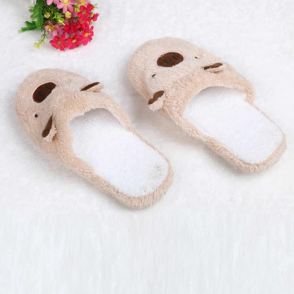 Nieuwe Winter Vrouwen Slipper Home Schoenen Voor Vrouwen Chinelos Pantufas Adulto Mode Mooie Beer Varken Indoor Huis Slippers Met bont