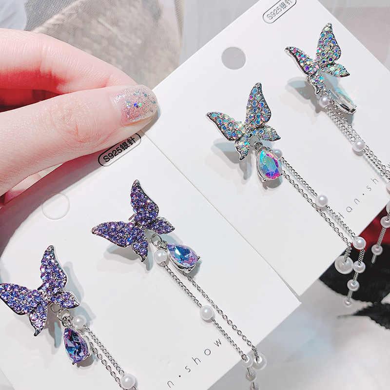 韓国2020新ブリンブリンフルラインストーン蝶のイヤリングロングタッセル気質ドロップイヤリングpendientesパーティージュエリー