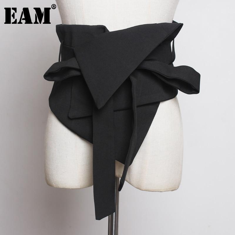 [EAM] Black Cloth Asymmetrical Bow Bandage Wide Belt Personality Women New Fashion Tide All-match Spring Autumn 2021 1A778