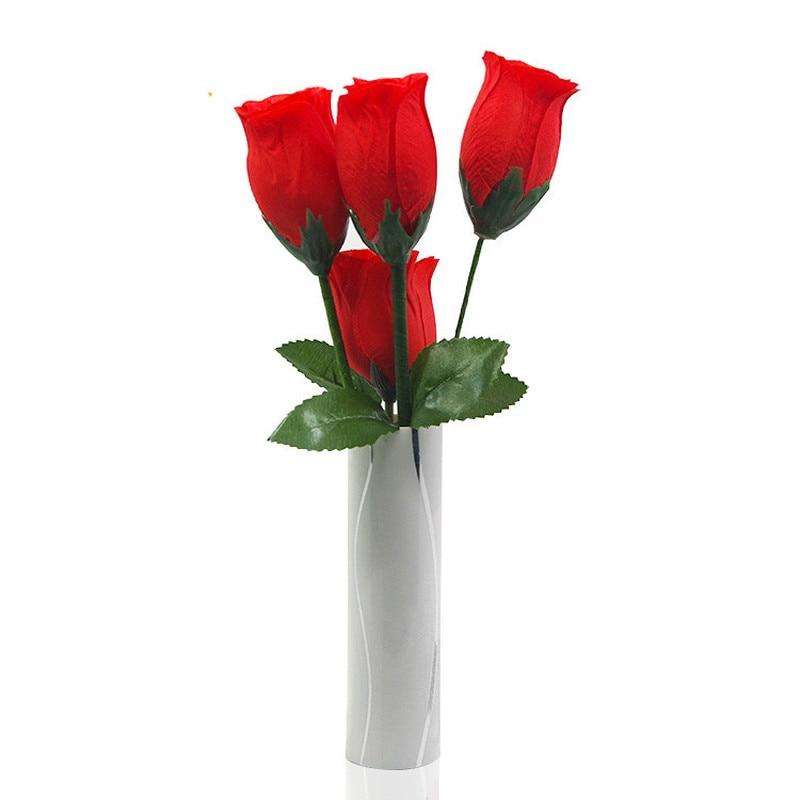 Rose et Vase tours de magie incroyable scène Rose écharpe magique apparaissant Magia Split drôle Roses Illusions Gimmick accessoires pour la fête