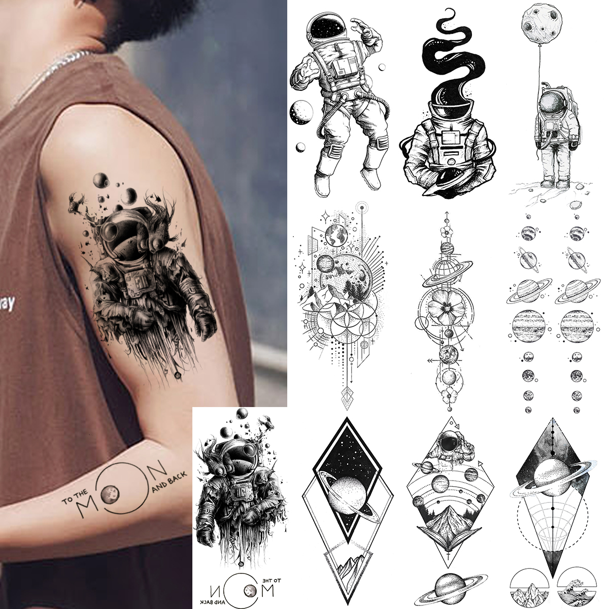Waterproof Realistic Men Women Fake Tattoos Temporary Cosmonaut Planets Tattoo Sticker Universe Earth Astronaut Body Art Tatoos(China)