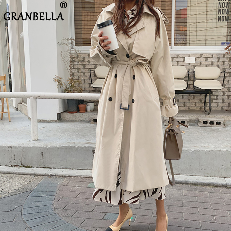4 Colors 2020 New Autumn Spring Women's Coat Korean Windbreaker Female Plus Size Double Breasted Ladies Long Chic Trench Coats