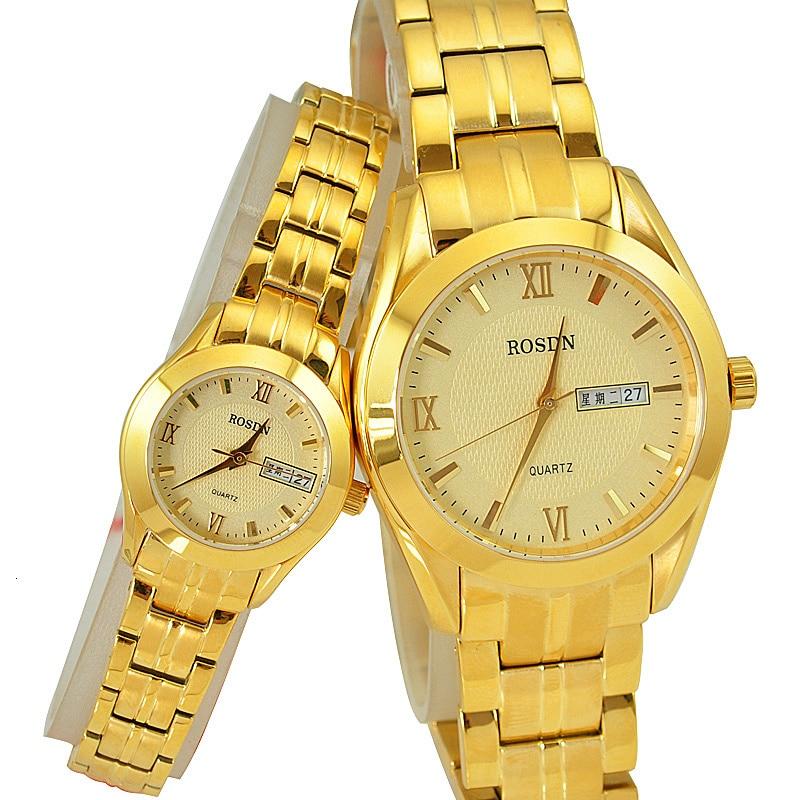 Marca de lujo ROSDN relojes de pareja Japón movimiento de cuarzo reloj de hombre 8 mm ultrafino zafiro resistente al agua 18K relojes de oro R3088M - 2