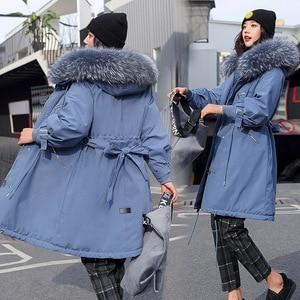Image 4 - Chaqueta de invierno con capucha para mujer, nueva con capucha de piel grande, larga, con forro de piel, gruesa, cálida, para nieve, 2019