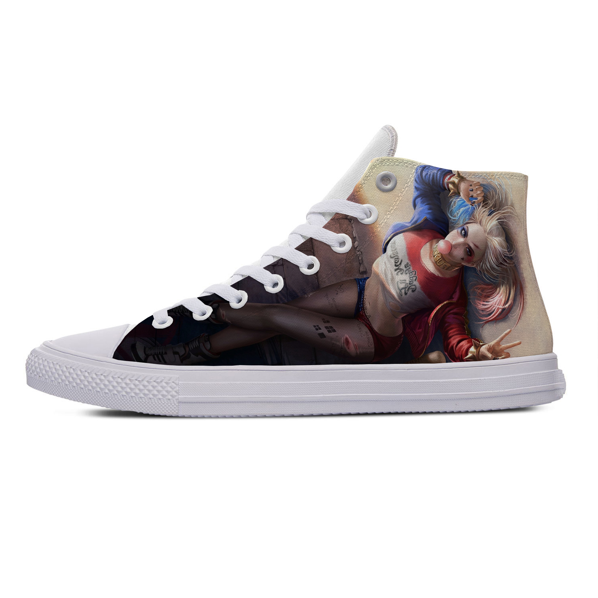 Harley Quinn DC Super Villain Hot Cool Casual Canvas Shoes High Top Breathable Lightweight Sneakers 3D Print For Men Women