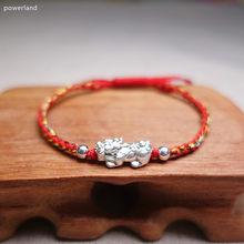 Real prata esterlina pixiu vermelho pulseira sorte pulseira artesanal 925 jóias