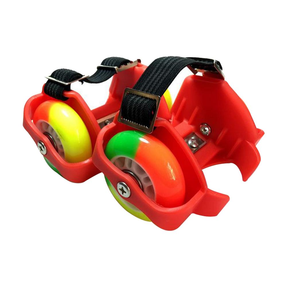 2PCS Flashing Wheel Outdoor Durable Toy Shoes Heel Skate Funny Unisex Rollers Adjustable Gift Kids PU