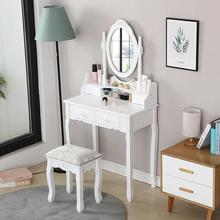 Bedroom Furniture Beauty Dresser Table Set With Mirror Dressers Makeup Adjustable 4 Drawers Rubber Wood European With Stool HWC