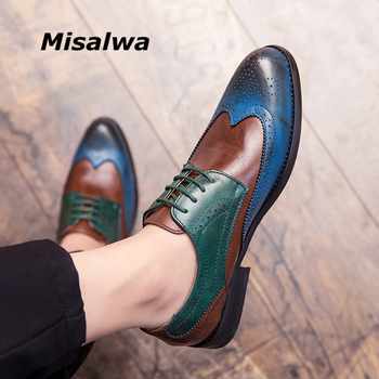 Misalwa Full Brogue Men Casual Dress Shoes Blue Patchwork CONTRAST Color Oxford PU Leather Formal Party Gentleman British