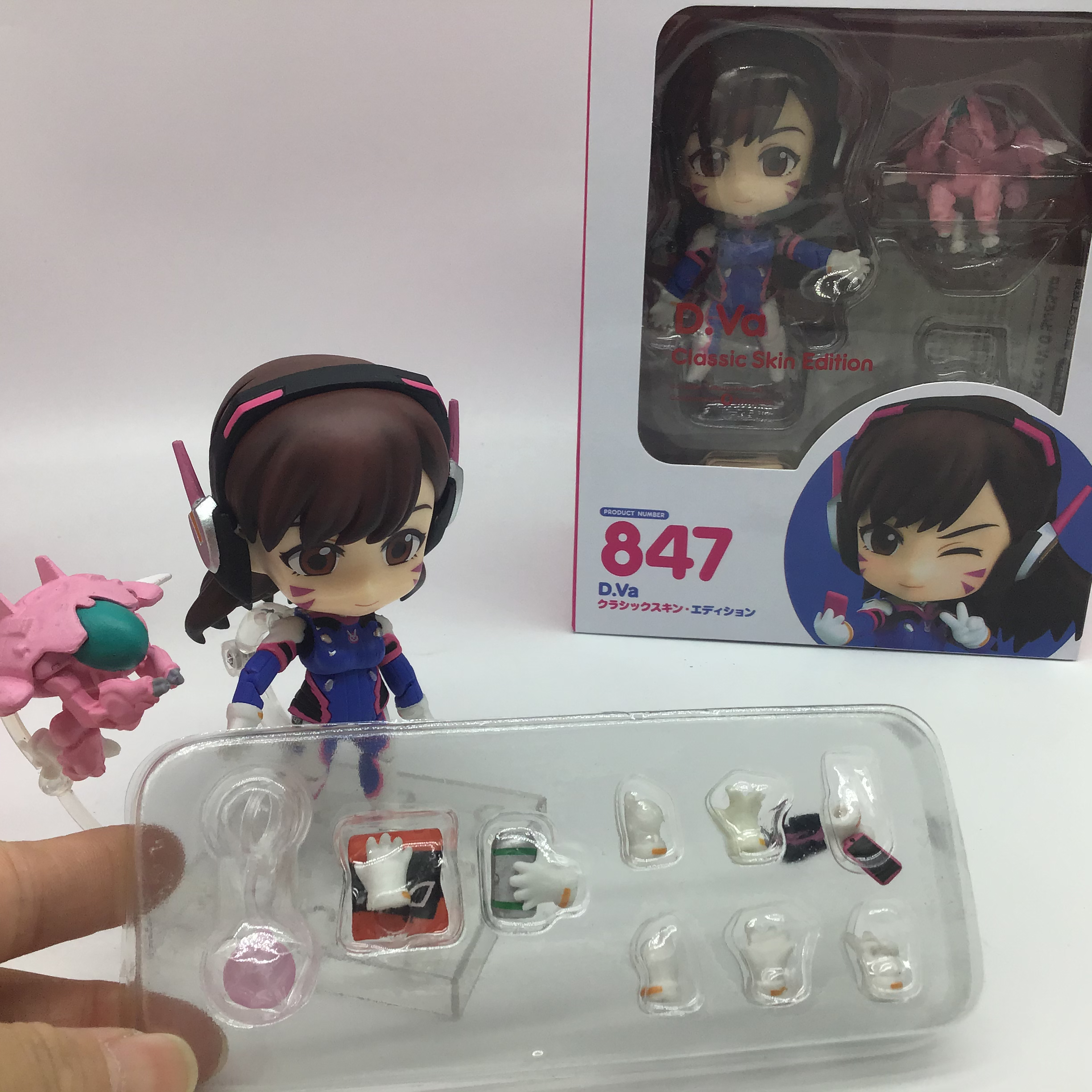 10CM Game Q version Overwatched D.Va 847 # Classic Skin Edition PVC Action Figures Model Toys Gift Doll 4