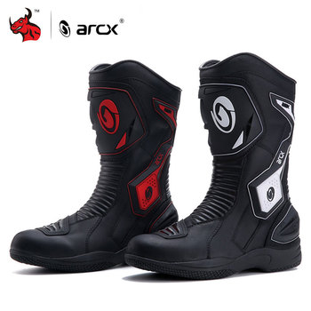 ARCX Motorcycle Boots Men Motocross Boots Waterproof Leather Moto Boots Reflective Design Motorbike Riding Shoes Botas Moto arcx motorcycle boots men waterproof botas moto genuine cow leather moto boots motocross boots motorcycle racing mid calf shoes