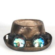 Кожаная шляпа-федора, Мужская Золотая шляпа со свининой, очки с плоским верхом, шляпа для джентльмена, шляпа для костюмированной вечеринки, 2 размера M L