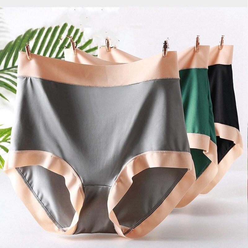 3 шт./лот высококачественное атласное мягкое сексуальное нижнее белье контрастное широкое Нижнее белье женские трусики большого размера 6XL ...