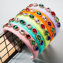 Fashion Sponge Hair Hoop Female Hot Sale Spring Style Inlaid with Oval Glass Drill and Rhinestone Multi-color Hair Band for Lady hot sale elegant style conterminal loop shape rhinestone embellished women s hair band