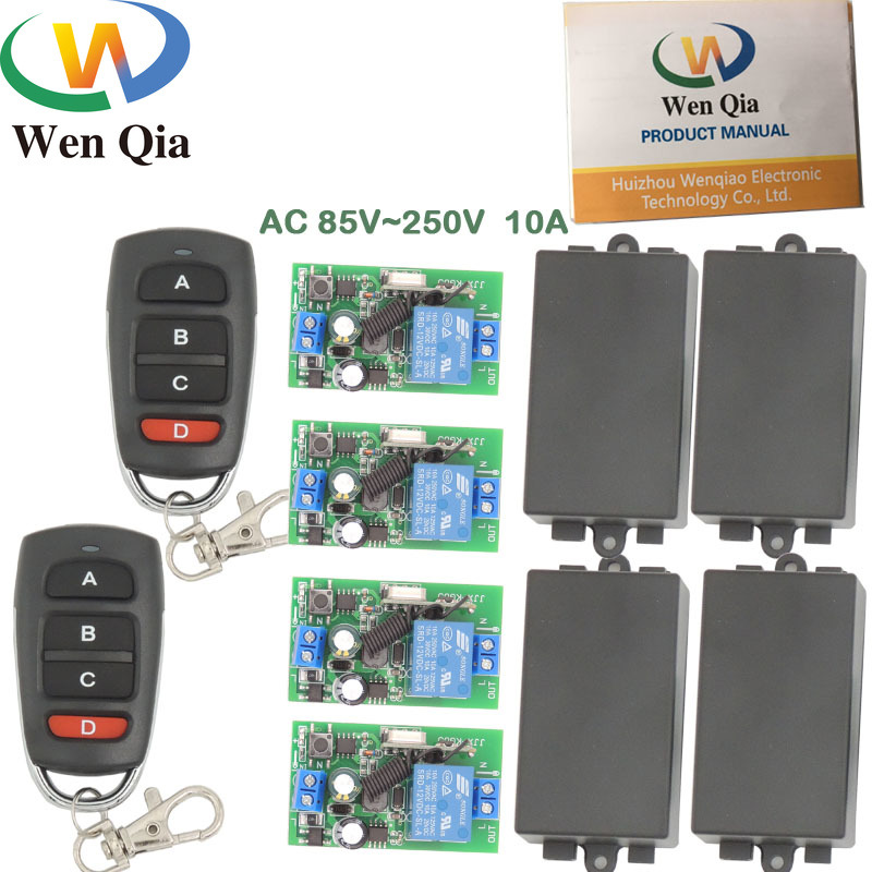 AC 85~250V 10A 2200W 1CH <font><b>4</b></font> gangs Remote Control Switch Wireless Receiver Relay Module for rf 433MHz Remote Electric Door and LED image