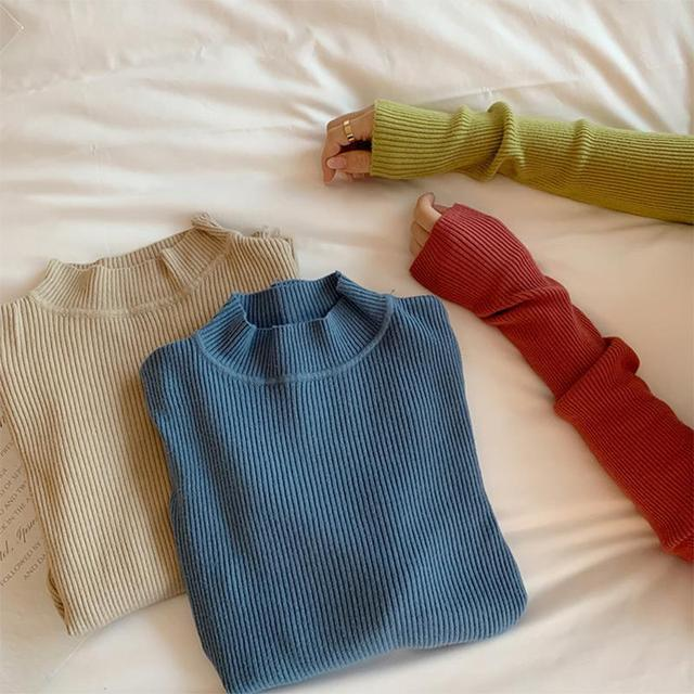 Women Sweaters Autumn Winter Turtleneck Long Sleeve Stretch Blue Knitted Pullovers Fashion Femme Soft Thin Jumper Tops 10 Colors 3
