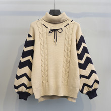 2019 New Fashion Pullover Women Turtleneck knitted Sweater winter Tops Korean Lace Up Lantern Sleeve Loose Female Warm Sweaters(China)