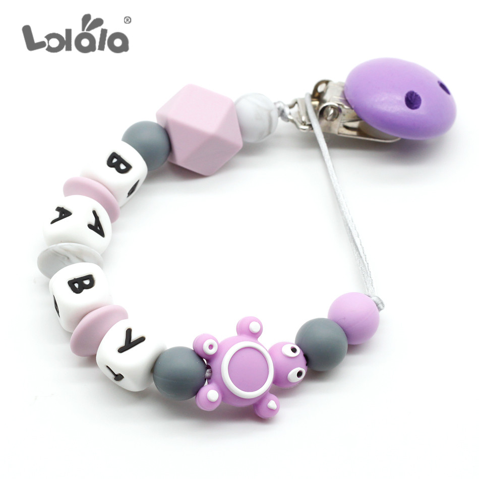 Hot Personalised Name Silicone Beads Baby Pacifier Clip  Teether Free Shipping Products Gifts