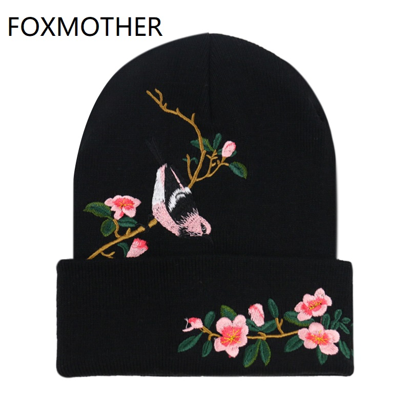 FOXMOTHER New Fashion Black Bird On Tree Branches Floral Embroidery   Skullies     Beanies   Bonnet Gorros Caps Winter Women Girls