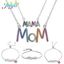 Juya – collier avec pendentif en lettres de maman pour femmes, Micro pavé de Zircon, fournitures de bijoux cadeau d'anniversaire à la mode
