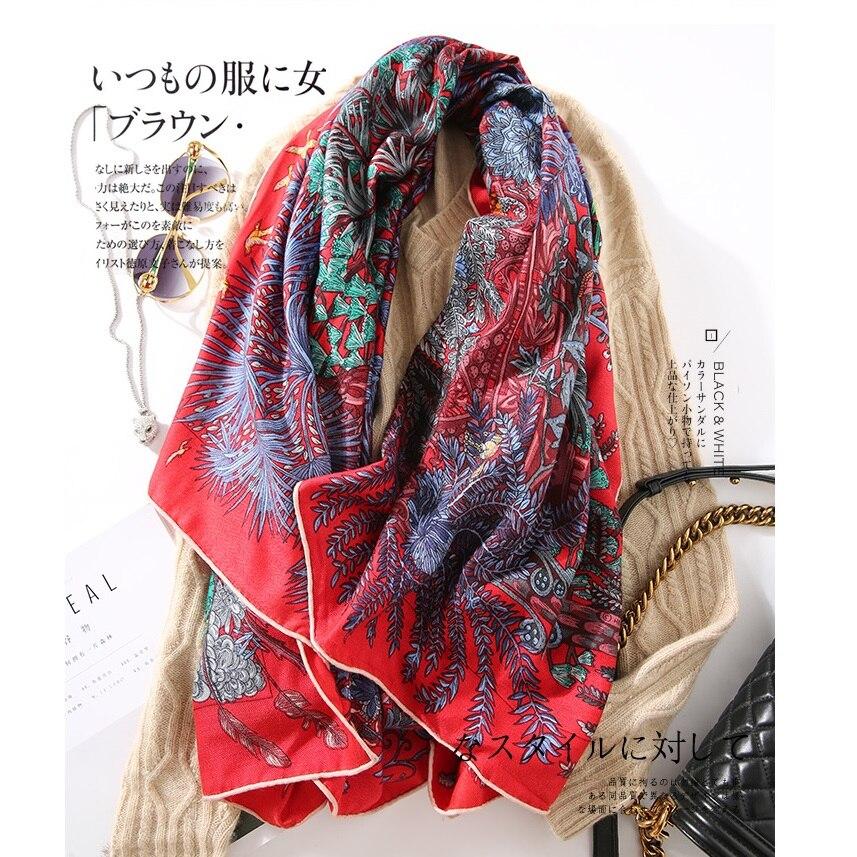 Elegant Floral Print Women Silk Cashmere   Scarf     Wraps   Shawl