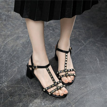 цена new 2019 Ankle Strap Heels Women Sandals Summer Shoes Women Open Toe High Heels Party Dress women Sandals Plus Size 33-43 онлайн в 2017 году