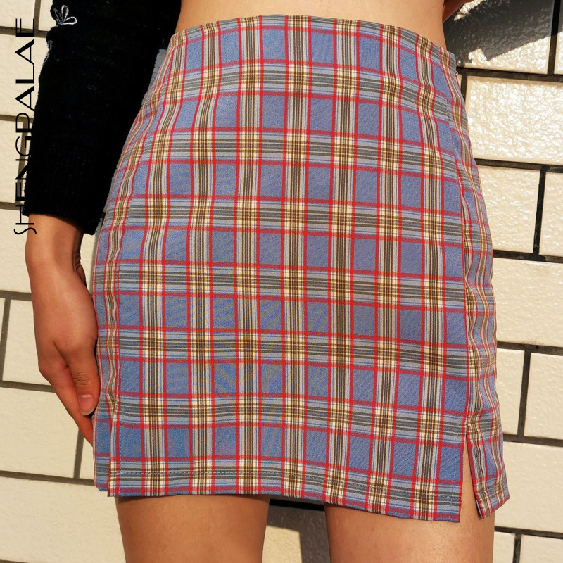 SHENGPALAE 2020 New Fashion Spring Women Vintage Harajuku Ladies Wild Bag Hip Skirt Split High Waist Plaid Hit Color ZA3071