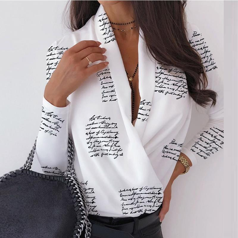 <font><b>Sexy</b></font> <font><b>Deep</b></font> <font><b>V</b></font>-Neck <font><b>Blouse</b></font> Print Elegant Office Ladies Pullover Shirt Casual Women Autumn Winter Long Sleeve Tops Blusas Streetwear image