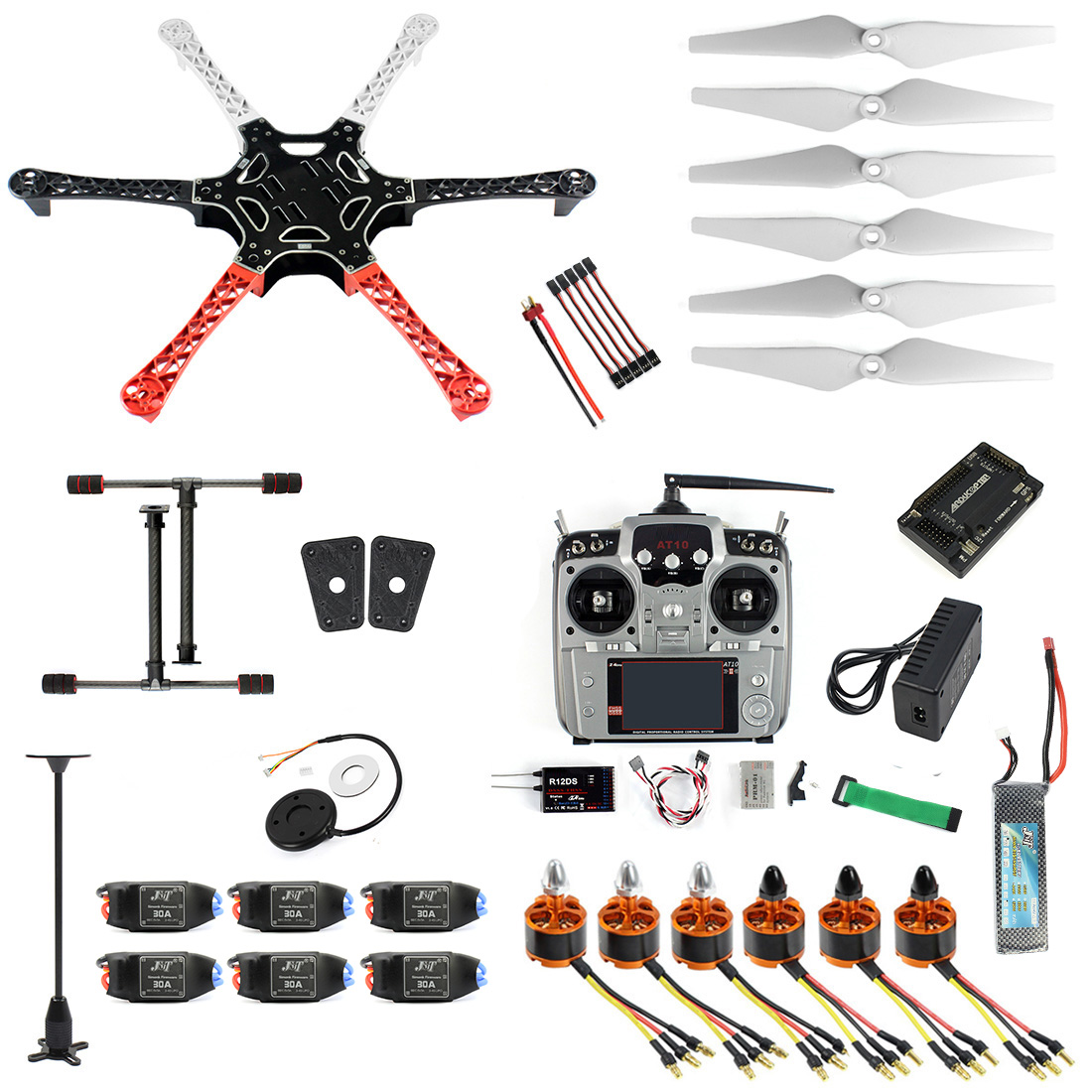 DIY Drone Kit 6-axis RC Aircraft Hexacopter Helicopter RTF Drone with AT10 TX/<font><b>RX</b></font> <font><b>550</b></font> Frame GPS APM2.8 Flight Controller Battery image