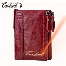 Echtes Leder Brieftasche Frauen Luxus Marke Doppel Zipper Kleine Geldbörse Weibliche Klassische Geld Tasche ID Karte Halter Freies gravur