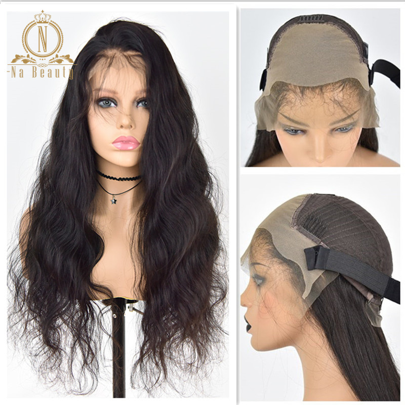Fake Scalp Invisible Knots Wig Bleached Knots Body Wave 13x6 Lace Front Human Hair Wigs Pre Plucked Black Remy Hair For Women