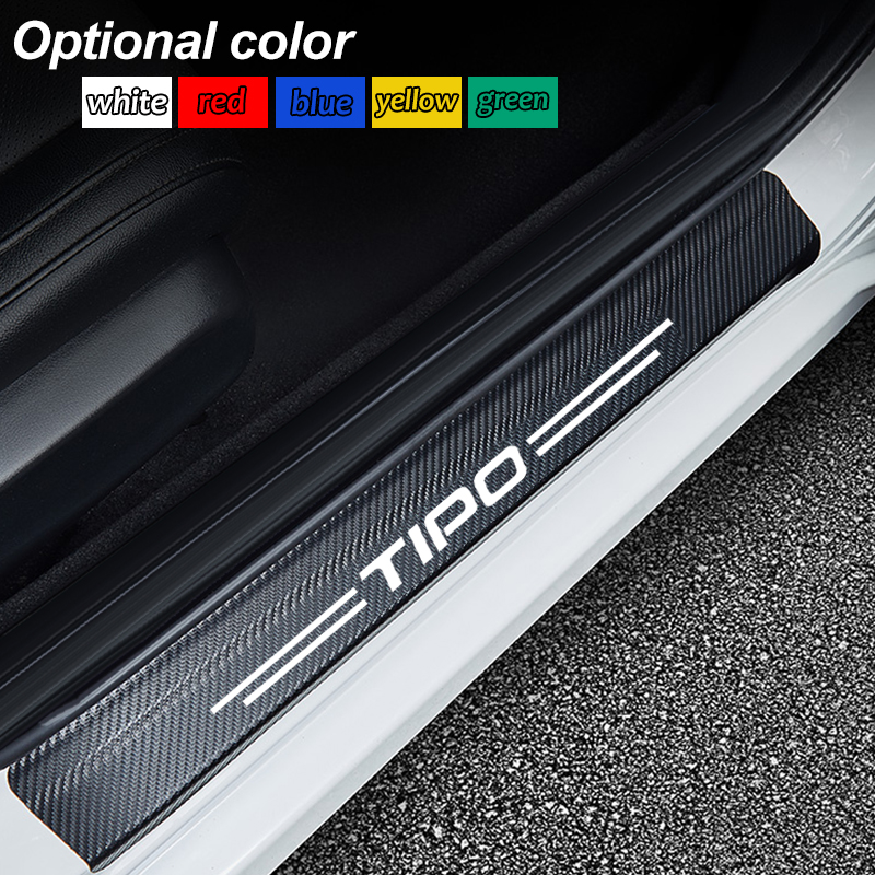 Car Accessories Door Sill Scuff Plate Guards Carbon Fiber Protector Stickers For Fiat TIPO Punto Palio Bravo Doblo Car Styling