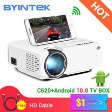 Byintek C520 2020最新ミニプロジェクターポータブルled携帯電話1080 1080p 3D 4 18kホーム映画館 (オプションのアンドロイド10 tvボックス)