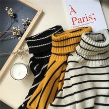 Winter Stripe Sweater Women Knitting Turtleneck Tunic Pullovers Long Sleeve Autummn Slim Jumper Top