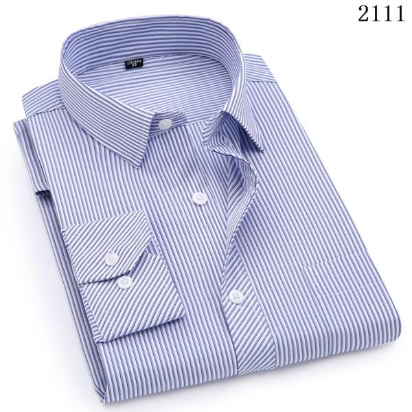 Plus Large Size 8XL 7XL 6XL 5XL Mens Business Casual Long Sleeved Shirt Classic White Black Dark Blue Male Social Dress Shirts 8