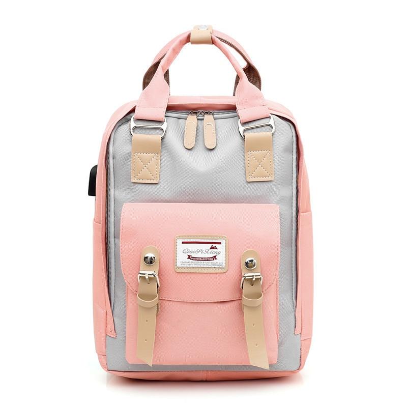 New Women Backpack With USB Charge Shoulder Bag Laptop Backpack Schoolbag For Teenager Girls Travel Backpacks Bagpack Sac A Dos