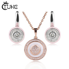 Special Design Circle Round Women Jewelry Sets Rose Gold Silver Color Ceramic Necklace Earrings Jewelry Christmas Gift Fashion(China)