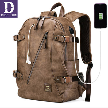DIDE 2020 Anti theft Backpack Male USB Backpack School Bag men Travel Laptop 15 inches Leather Bagback Waterproof Vintage dide usb charging anti theft leather school backpack bag for teenager fashion male waterproof travel laptop backpack men