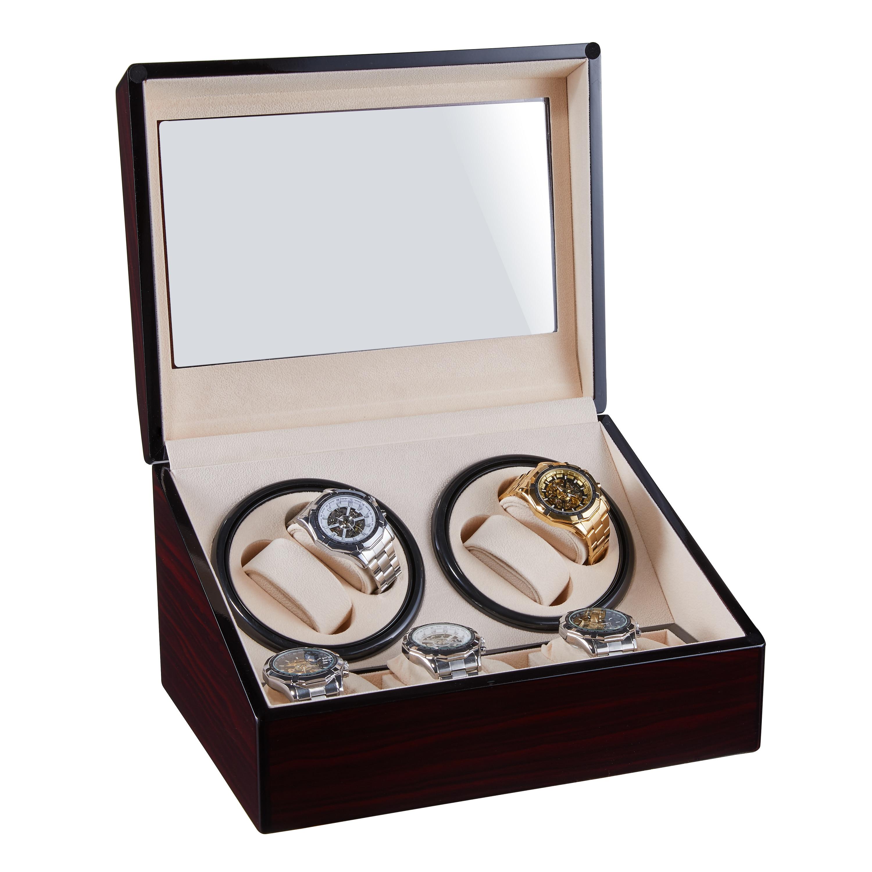 Montres remontage boîte de rangement enrouleur secouer bijoux Collection support en bois 4 + 6 affichage automatique Double tête moteur silencieux