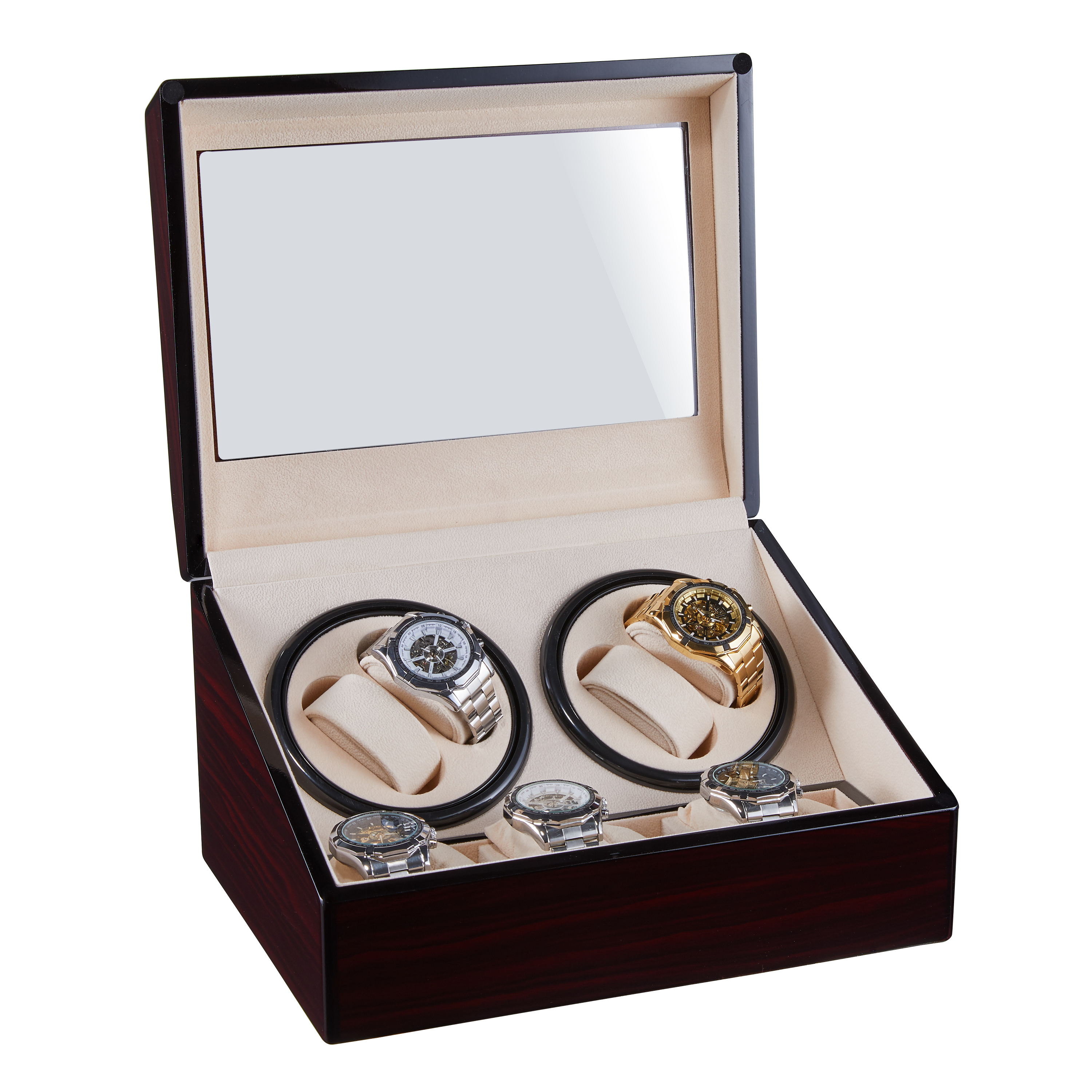 Watches Winding Storage Box Winder Shake Jewelry Collection Holder Wooden 4 +6 Automatic Display Double Head Silent Motor