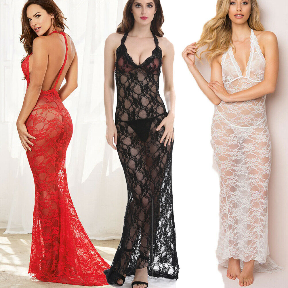 Summer Ladies Women Sexy Sleeveless Spaghetti Strap See-through Lace  Long Dress Silk Lingerie Nightgown Sleepwear S-XXL
