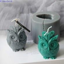 Tamanho grande 3d coruja molde de silicone casa decoração interior aromaterapia vela molde molde gesso diy vela que faz frascos