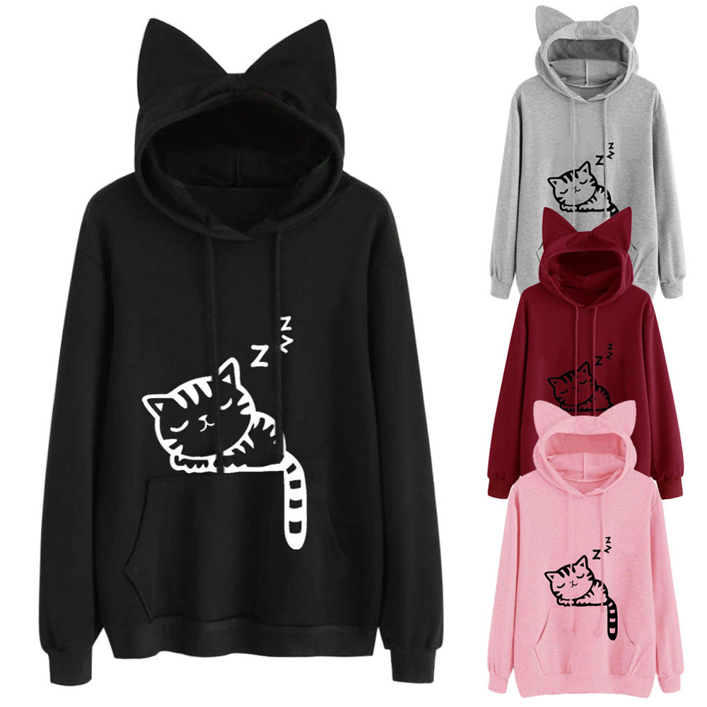 2020 Autumn Women's Hoodies Cute Cartoon Print Long Sleeve Hooded Sweatshirt With Pocket Loose Casual Female Hoodies Tops Blouse