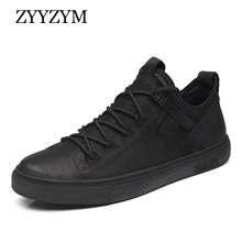 ZYYZYM Shoes Men England Style Casual Leather Breathable Fashion Trend Black White 2019 NEW High quality
