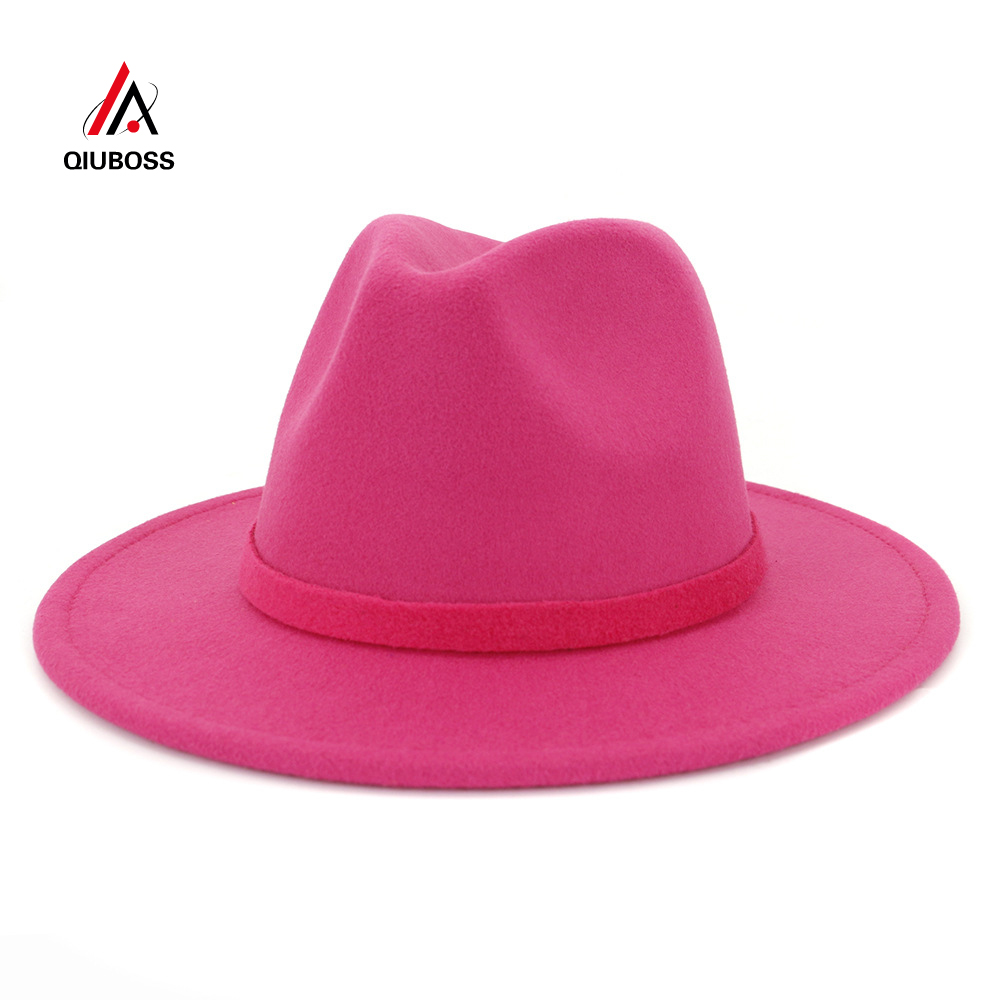 QIUBOSS Unisex Men Women Manhattan Fedora Hat Solid Color Flat Brim Wool Felt Soft Classical Gentleman Cap Jazz Hat Cowboy Hats