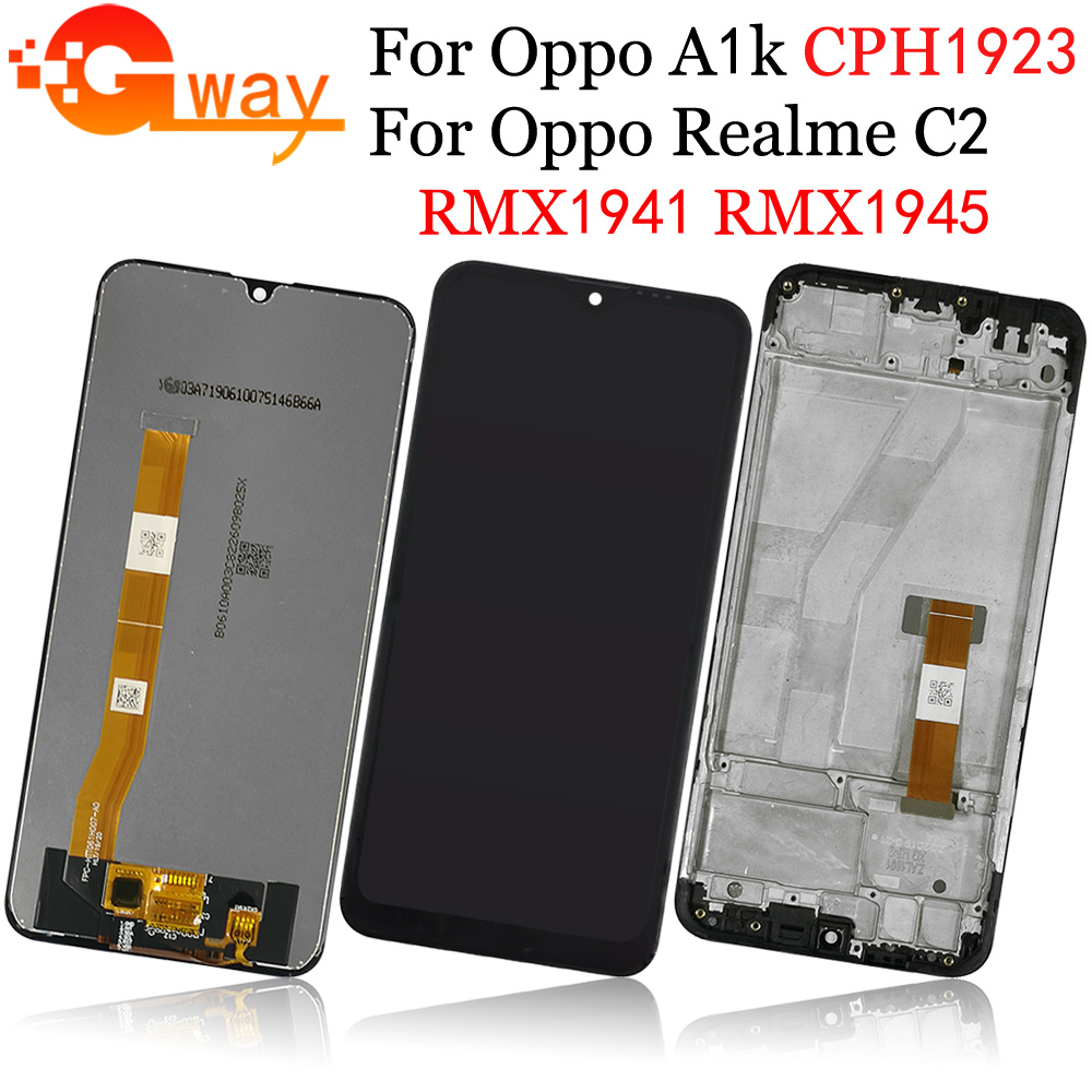 LCD With Frame For OPPO Realme C2 RMX1941 RMX1945 A1k CPH1923 LCD Full Display Screen Touch Sensor Digitizer Assembly AAAAA