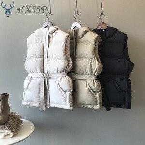 Image 1 - HXJJP Women Vest Winter Jacket Pocket Hooded Coat Warm Casual Cotton Padded Vest Female Slim Sleeveless Waistcoat Belt In Stock