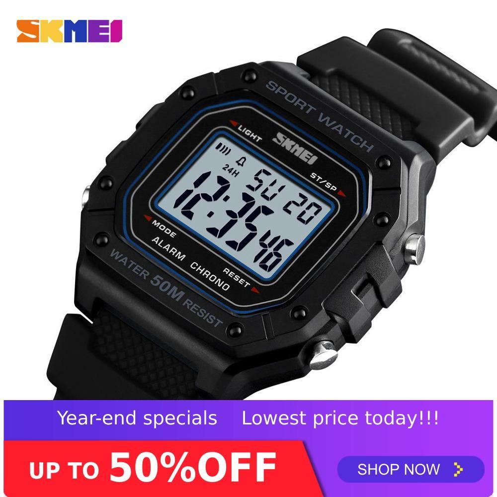 SKMEI Outdoor Sport Watch Men Digital Watches Waterproof 5Bar Alarm Clock Fashion Military Men Digital Watch Montre Homme 1496